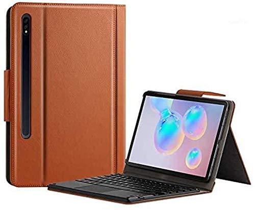 Funda con Teclado para Galaxy Tab S7 De 11 Pulgadas 2020 - Teclado Inalámbrico Bluetooth con Panel Táctil - Funda Delgada con Soporte para Galaxy Tab S7 SM-T870 / T875,Brown
