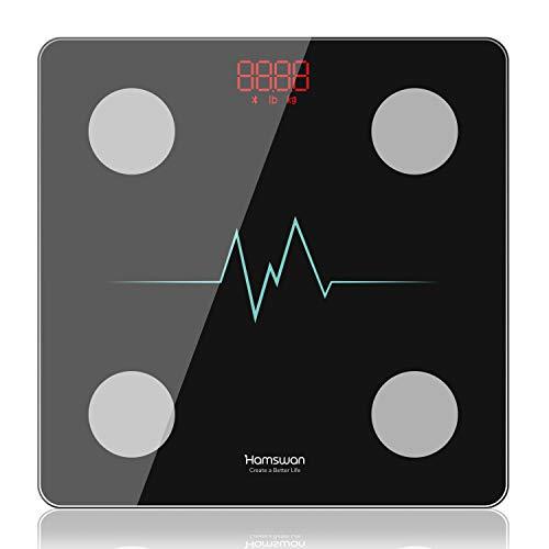 HA MSWAN Báscula de baño digital, impedancia, báscula Bluetooth con 8 datos corporales, soporta 10 usuarios para iOS y Android (electrocardiograma)