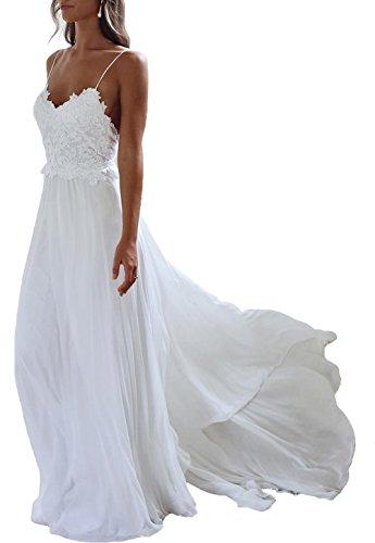 NUOJIA Sexy Rückenfrei Chiffon Spitzen Boho Böhmischen Brautkleider Strand Lange hochzeitskleid Weiß 36
