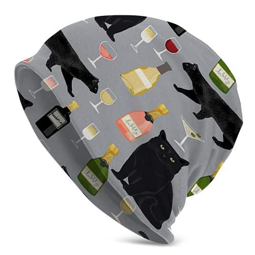 Cseogai Black Cat Wine 82 - Gorro de punto para hombre, diseño de gato y vino, color negro