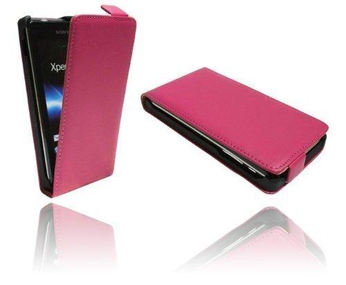 ENERGMiX Handytasche Flip Style kompatibel mit Sony Xperia J (ST26i) in Pink Klapptasche Hülle