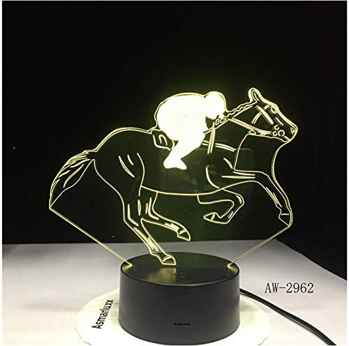 Carreras de Caballos 3D Luz de Noche USB Novedad Regalos 7 Colores Cambiantes LED Mesa de Escritorio Táctil Base Lámpara Niños Regalo Dropshipping Sin Controlador7 Colores