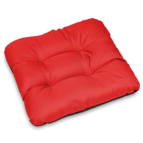 SuperKissen24 Set de 8 Cojines de Asiento - Cojín de Silla 45x45 cm para Interior y Exterior Cómodo e Impermeable para Muebles de Jardin, Terraza, para Suelo - Rojo