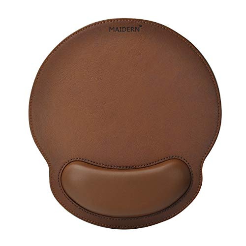 Tapis de souris en mousse à mémoire avec repose-poignet, Tapis de souris ergonomique en cuir PU avec repose-poignet, Base en caoutchouc antidérapante (Marron)