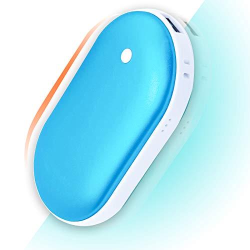 FVSA Scaldamani Ricaricabile, 5200mAh Scaldamani Elettrico, Portatile USB Riutilizzabile Scaldamani Tascabile, Regalo Invernale per Uomini Donne (Blu)