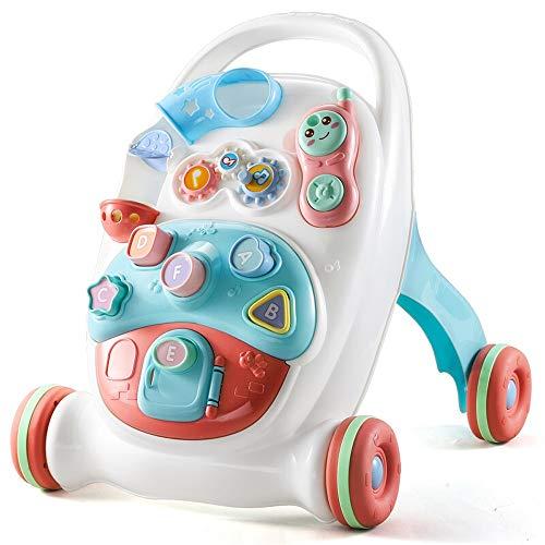 Baby Walker 2-i-1 underhållning lärande promenad bil baby tryckgående rullälskare förebyggande barn gåstol leksaker baby balansgång multifunktionell baby promenad (färg: vit, storlek: 36 x 41 x 49 cm)