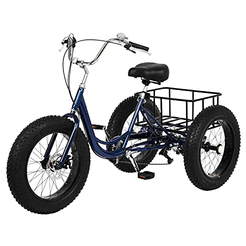 Ongmies Adult Tricycle Bikes 20' with Basket, 3 Wheels Cruise Trike, 1/7 Speed 3-Wheel for Shopping, with Installation Tools, Comfortable Bicycles, for Men and Women, Load Capacity 330 lbs (Black-20)