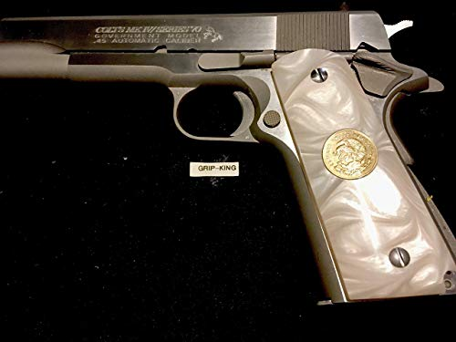1911 GRIPS FULL SIZE,SALE $38.73.GENUINE ANTIQUE MEXICAN COINS FITTED IN HI-LUSTER DEEP SHINE PEARL. FITS SPRINGFIELD,REMINGTON,PARA,RUGER,COLT,TAURUS,KIMBER,SIG,CLONES. MADE IN U.S.A