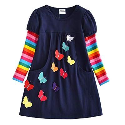 VIKITA 2018 Toddler Girls Dresses Long Sleeve Girl Dress for Kids 3-8 Years LH5805, 5T