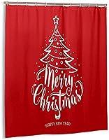 メリークリスマスハッピーニューイヤーシャワーカーテン、バスルームポリエステル防水ファブリックバスタブセットバスルームカーテン装飾用フック付き60 X72インチ-プラスチック-66x72インチ