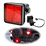 iJDMTOY Red Lens LED Tail/Brake Light Compatible With Truck SUV Trailer Class 3/4/5 2-Inch Towing Hitch Receiver, Powered By 15 Super Bright Red LED Bulbs