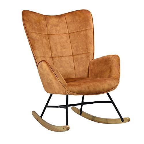 Mueble Cosy - Sillón de balancín, Silla de Ocio y Descanso, Tejido marrón para el salón,...