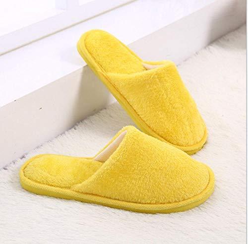 QPPQ Zapatillas de algodón de interior, zapatillas de otoño y invierno para hombre y mujer, zapatillas de algodón cálidas de interior-Amarillo_6.5-7, zapatillas antideslizantes de invierno