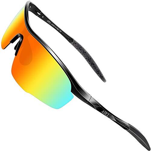 ATTCL - Occhiali da sole polarizzati da uomo, per pesca, golf, protezione UV400, 8700, rosso