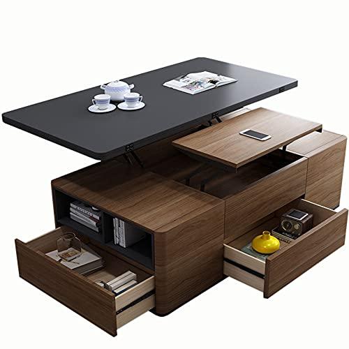 Wttfc Mesa de Centro Elevable - Mueble con Revistero y 3 Cajones,...