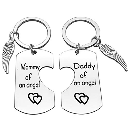 Loss Memorial Keychain Mommy & Daddy of an Angel Keychain Set Miscarriage Keepsake Baby Memorial Gift for Men Women Baby Remembrance Jewelry Sympathy Gift for Infant Loss Child Loss