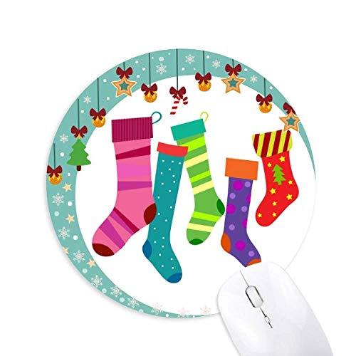 Frohe Weihnachten bunte Strümpfe Illustration Maus Pad Jingling Bell Rund Gummi Mat