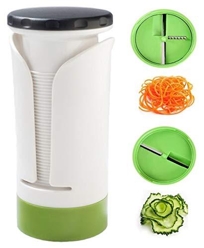 VAIYNWOM Spiralschneider Gemüseschneider, 2 in 1 Gemüse Spiralschneider Gemüsehobel für Gurke, Karotte, Kartoffel, Kürbis, Zucchini, Zwiebel