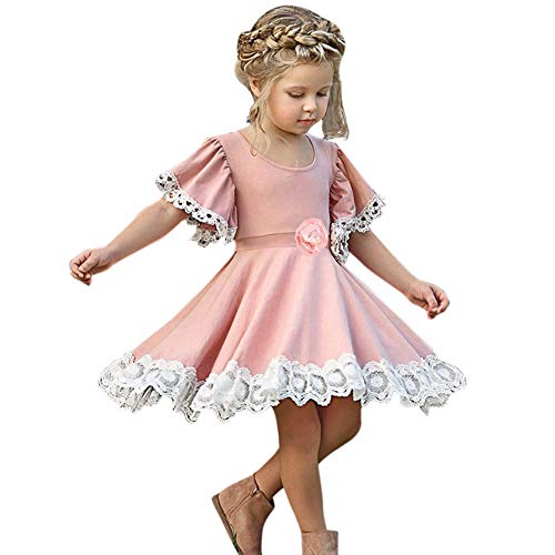 YWLINK Vestido De NiñA para Fiesta Verano Manga Corta Mezcla De AlgodóN Vestido De Floral De Encaje Falda Princesa Moda Casual Lindo ActuacióN De Danza Boda Playa Viajes Regalo(Rosado,100)