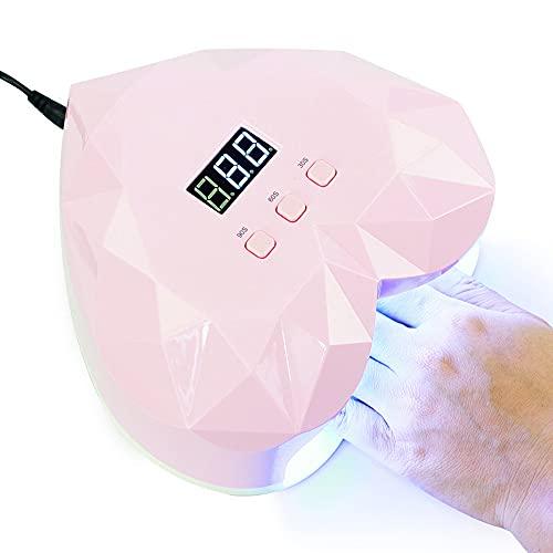 QSYY Secador De Uñas, Lámpara UV De 48 W, Lámpara LED De Secado Rápido para Uñas, Utilizada para Secar Esmalte De Uñas Y Uñas De Gel, con Sensor Automático (Rosa),European regulations