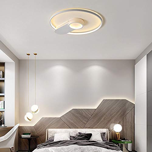 36W plafondlamp LED-round dimbaar met afstandsbediening moderne witte aluminium plafond lichte woonkamer slaapkamer badkamer kantoor, 45 * 40CM