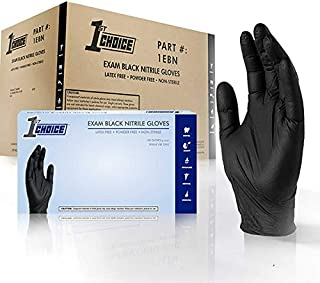 1st Choice Black Nitrile 4 Mil Thick Disposable Gloves Large Case of 1000   Exam Medical Latex Free Black Large