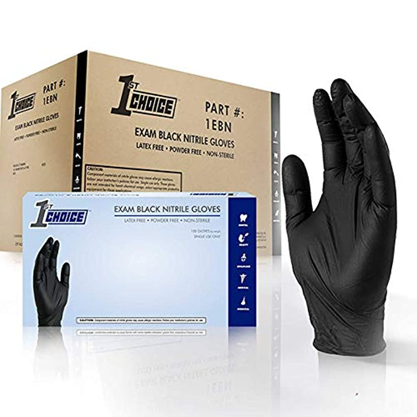 1st Choice Black Nitrile 4 Mil Thick Disposable Gloves Medium Case of 1000   Exam Medical Latex Free Black Medium