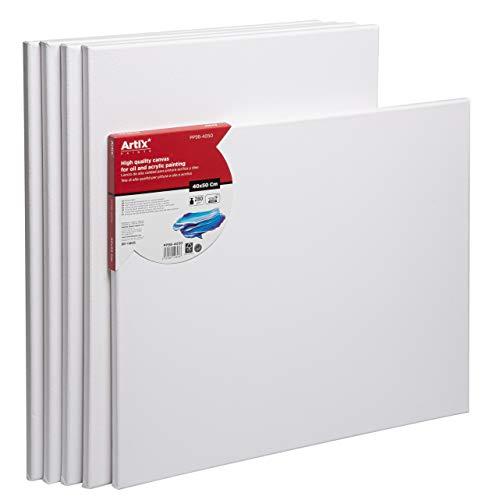 Artix PRO Pack 5 Lienzos Pre-estirados Lienzos para Pintar, Blanco Algodon 100% para Pintura Acrilica, Oleo y Técnica Mixta 40x50cm