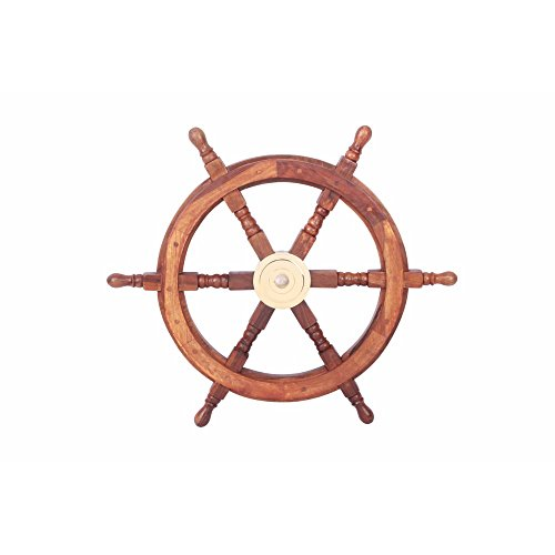 """TUP THE URBAN PORT 24"""" Teak Wood Ship Wheel with Brass Inset and Six Spokes, Brown and Gold"""