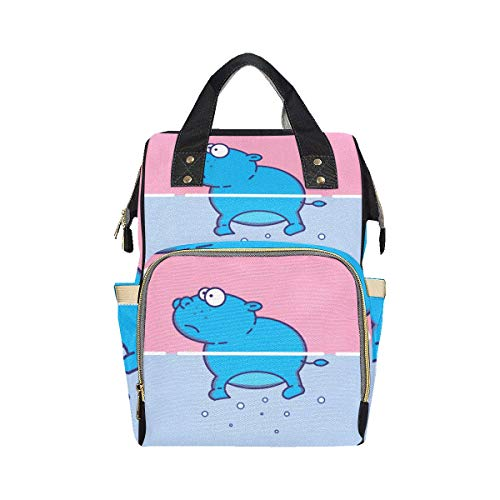 Big Swimming Hippo Lovely Animal Printed Backpack Diaper Bag Mom Dad Changing Large Capacity Multi-function Customized Diaper Bag Backpack For Baby Girl Boy