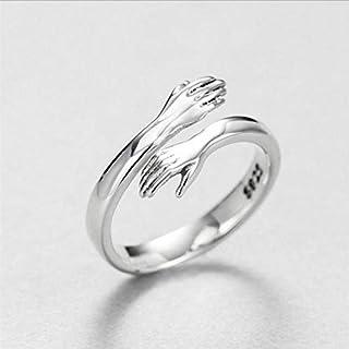 خاتم فضة قابل للتعديل بتصميم حضن