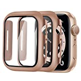 Alinsea Screen Protector for Apple Watch 40mm Series 4/5/6/ SE Tempered Glass [2 Pack] [Full Coverage] Bumper Hard Case [with Screen Protector Built-in] Overall Protective Cover-Rose Gold