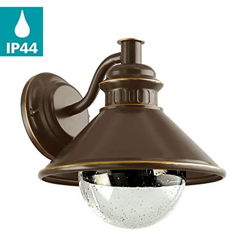 EGLO Außen-Wandlampe Albacete, 1 flammige Außenleuchte, Wandleuchte aus Stahl verzinkt, Glas: klar mit Lufteinschlüssen, Farbe: Braun, kupfer, Fassung: E27, IP44