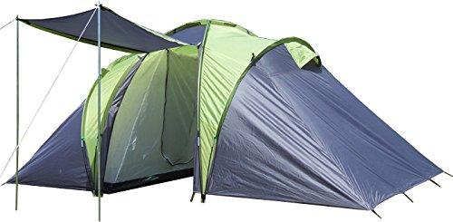 EXPLORER Zelt Sierra 4 Familienzelt mit 2 Schlafkabinen 420(140x140x140)x210x180cm 2+2 Personen 3000mm Wassersäule Ring Pin System wettergeschützter Eingang Camping Outdoor Wandern Familie