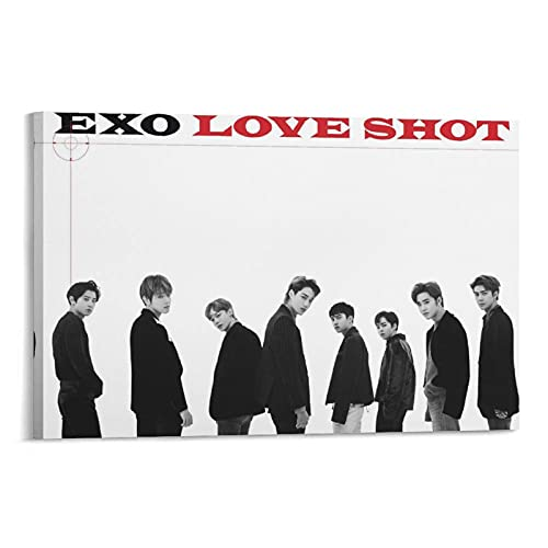 Star Boy Band EXO Kpop Love Shot Group Sehun Chanyeol Baekhyun Xiumin Kai Epic Member Collection Poster e Wall Art Stampa su tela Modern Family Camera da letto Decor Poster 50 x 75 cm