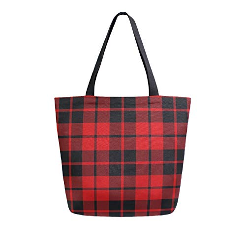 Lerous - Bolsa grande de lona con patrón escoceses a cuadros, reutilizables, bolsas de hombro, bolsas de compras, bolsas de almacenamiento portátiles para mujeres/niñas