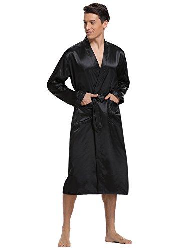 Aibrou Herren Morgenmantel Bademantel Lang Satin Nachtwäsche Kimono Sleepwear V Ausschnitt mit Gürtel Schwarz L