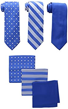 Stacy Adams Men s One Size 3 Pack Satin Neckties Solid Striped Dots with Pocket Squares