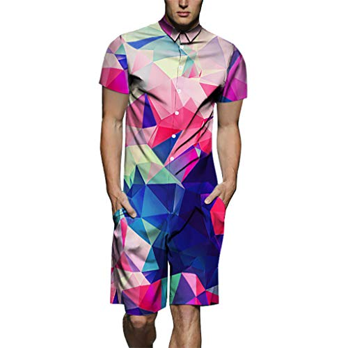 Wkgre Mens Summer Fashion 3D Printed Stitching Jumpsuit Splicing Short Sleeve T-Shirt Top Blouse Print Jumpsuit (XXL, Multi Color1)