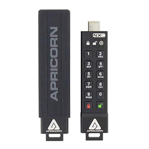 Apricorn 128GB Aegis Secure Key 3 NXC 256-Bit Hardware-Encrypted USB 3.2 Type C Flash Drive, FIPS 140-3 Level 3 Validation Pending (ASK3-NXC-128GB)
