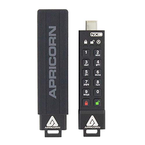 Apricorn Aegis Secure Key 3 NXC 128GB 256-bit Hardware-Encrypted USB 3.2 Type C Flash Drive, FIPS 140-3 Level 3 Validation Pending