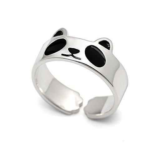 HANFLY Panda Anillo de plata de ley 925 Moda Animal Joyería Tamaño Ajustable