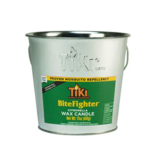 TIKI 1418014 Brand 17 oz. BiteFighter Galvanized Citronella Wax Candle Metal Bucket Silver Torch, 5.00