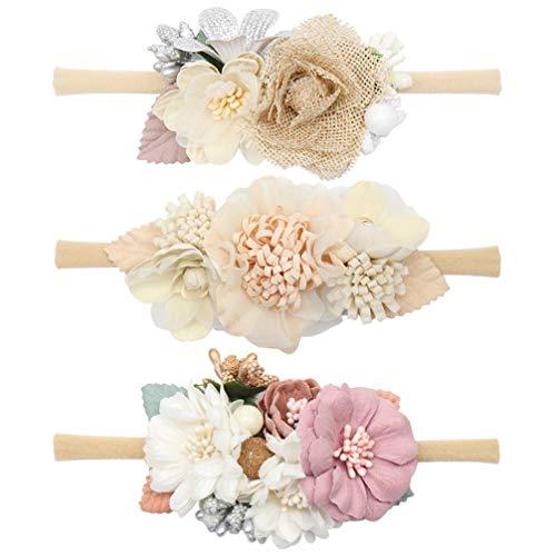 TomaiBaby - Lote de 3 diademas elásticas para el pelo, diseño de flores, accesorios de fotos para recién nacido