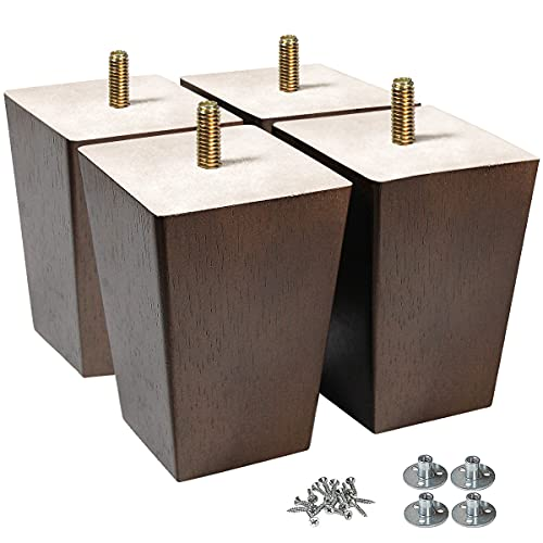 AORYVIC Wood Legs for Furniture 4 inch Sofa Legs Square Bed Legs Pack of 4