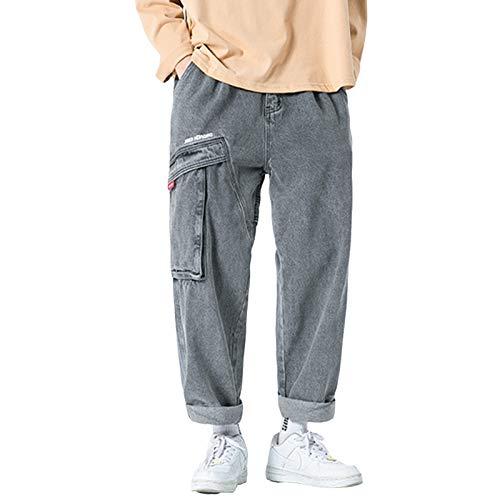 LDMB Vaqueros con Puños De Ajuste Relajado para Hombre Decoración De Bolsillo Grande Pantalones De Mezclilla Desgastados Y Desgastados -Gris,XXL