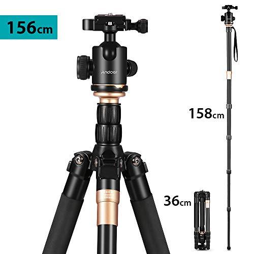 Andoer Tragbares Kamerastativ, 156cm Aluminiumlegierung Reisestativ Einbeinstativ für DSLR mit 360 Grad Panorama Kugelkopf Invertierte Mittelachse für Canon Nikon Sony