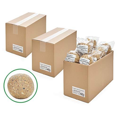 Paul´s Mühle Ganzjahres Riesen-Meisenknödel, Ganzjahresfutter für Wildvögel, reduzierter Schalen- und Nussanteil, ohne Netz, 48 Stück (3 x 16 x 500 g)