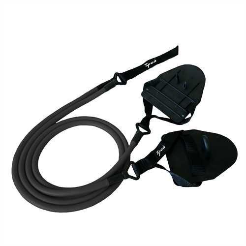 Tyron Latex-Zugseil mit Handpaddles | Zugseil | Schwimmtraining mit Handpaddles | Armzug-Training für Schwimmer und Triathleten (hoher Widerstand)