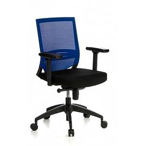hjh OFFICE 657231 Silla ejecutiva Porto Base Tela/Malla Azul/Negro Silla Oficina ergonomica Soporte Lumbar con reposabrazos